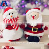 custom christmas plush toy christmas snowman and santa claus doll for wholesale