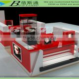 shopping mall red wood eyebrow threading kiosk showcase for sale