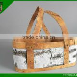 handmade birch bark decorative basket