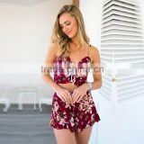 Womens Holiday apparel Mini Playsuit Ladies Jumpsuit Summer Beach Dress Sexy Print Bohemia Playsuit
