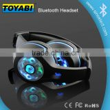 LED Over Head Earphone Wireless Bluetooth Headsets with microphone micro Flashing LED lights