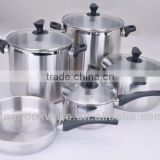 9 pcs Bakelite Stainless Steel Cookware/Kitchenware Glass lid
