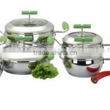 Apple shape stainless steel kitchen sets Sola ware with induction base and colorful silicone handle