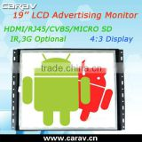 Android LCD Taxi Advertising Player 19'' With 4:3 Display and 1280*1024 Resolution