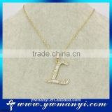 "Factory price fashiion design crystal letter ""L"" pendant gold necklace P0004                                                                         Quality Choice"
