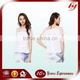 OEM Service office wear lady plain white short sleeve shirt factory price 100% polyester casual blouse