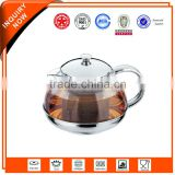 antique stainless steel glass tea kettle