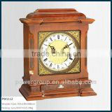 Hot sell wooden desk clock Square shape White&Golden clock face Good quality Cheap price PW1112P