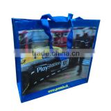 eco-friendly rpet shopping bag made of rpet fabric with lamination, double handles
