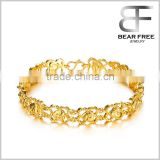 Women's 18k Gold Plated Hollow Out Flower Heart Tennis Bracelets Link Chain Wristband Wedding Bride