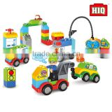 plastic enlighten city oil station toy brick building block set
