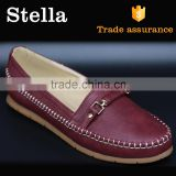 top sell breathable metal buckle ornament pu leather thread lady loafer
