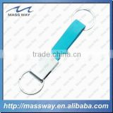 promotional autokinetic custom metal genuine blue leather key ring                                                                         Quality Choice