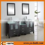 72' double vessel sink wooden bathroom vanity unit with glass door