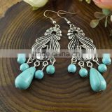 Wholesale Hight Quality Vintage Bohemia Style Love Heart Turquoise Stone Earrings for Women
