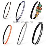 Women Hair Accessories Gorgeous Rhinestone Elastic Headband Retro Beads Hairband
