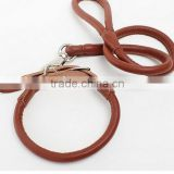 Strong Genuine Real Leather Dog Pet Cat Leash Lead Rope Collar Brown Adjustable