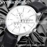 2016 KYT custom logo European style high quality 10ATM waterproof genuine leather slim luxury chronograph watch