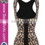 2016 Hot Sale Sexy Latex Sport Girdle Steel Boned Leopard Corset Waist Training Wholesale