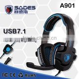 Brand Sades SA-901 Pro Gaming Headset studio headphones 7.1 Surround Sound earphone game Headphone with Microphone for PC Gamer