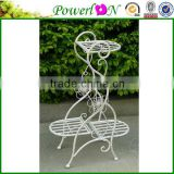Antique White Wrought Iron Classical Vintage Hand Crafted Decorative 3 Tier Plant Stand For Home Patio TS05 G00 X00 PL08-5821