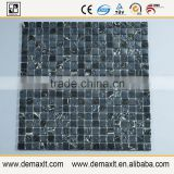 for balcony tile 1''x1'' crystal glass mix marble mosaic tile for bar wall