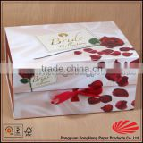 Custom ribbon flower luxury wedding gift box, favor box gift packaging, foldable gift box