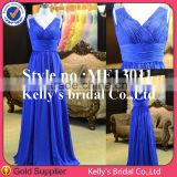 Beautiful pricess style sweetheart neckline steel blue evening dress with layered chiffon
