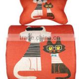 Nature Linen material Custom Printed Memory Foam Car Lumbar Seat Cushion & Car Neck Pillow