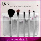 5pcs Animal Hair Wood Wand Makeup Brush Set Cosmetic Travel Make Up Brushes With a Beauty PU leather Bag