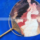The lowest factory price print picturer summer use tool natural bamboo hand fan with logo