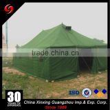 Waterproof 20 persons canvas military refugee tent for sale, with rain-tight at 16mm/h rainfall intensity for 8 hours