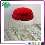 Portable Acrylic Red Cushion Kids Stool Reading Room Plexiglass Legs Stool Round Ottomans For Home