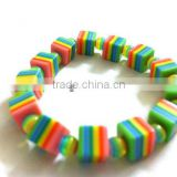 Rainbow Candy Striped Bracelet with Abstract Cube shaped beads, strechable chunky bead bracelets, colorful candy bead bracelet