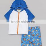 New Style Boys Sportswear With Blue And White Bear Cover-Up And Boardshorts Boys Beachwear Kids Clothes B-NP-TR905-401
