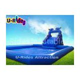 Blue Ocean Dolphin Inflatable Water Parks Digital Printing 10 X 10 Meter