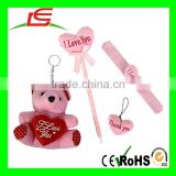 Baby Toys I Love You Plush Heart Set Includes A Bear, Pen, Key-chain and A Slap Bracelet