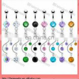 New arrive !! custom Belly button ring with dangling vine with gems navel ring body piercing jewelry