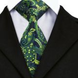 Summer Adjustable Silk Woven Neckties Paisley Gold
