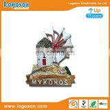 Souvenir 3d Mykonos resin magnet Chora or lower windmills resin fridge magnet