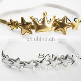 Hot sale cute baby hair accesssory golden crown silver star charm headband