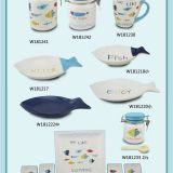Cute fish shape art design craft wholesale ceramic plates