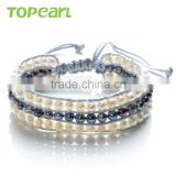 Topearl Jewelry Potato Freshwater Pearl Bracelet Woven Leather Wrap Latest Design Vogue Jewellery Bangle CLL174