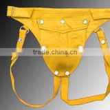 Men Leather Break Away Front gay jockstraps Jock Straps with Seven Snaps