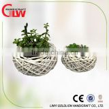 set of 2 white willow plant pots, vases flower, gardening pots