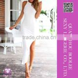 2015 Clothes Fashion Trendy Woman Clothes Round Neck White Evening Dress With Side Slits
