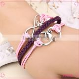 Wholesale Handmade Layers Leather Double Heart Charming Bracelet Weave Women Jewelry