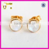 Fashion S925 gold plated gemstone earrings for girl, simple moonstone silver stud earring