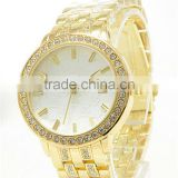 Women Elegant Crystal Roman Numerals Golden Plated Metal Mesh Band Wrist Watch 1QB6 4BIV