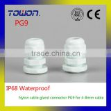 Hot Sale IP68 Waterproof Nylon Plastic white Cable Gland Connector PG9 for 4-8mm water joint